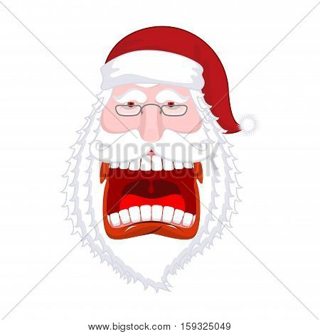Crazy Santa Shout. Scary Grandfather Yelling. Open Mouth And Teeth. Angry Santa Claus Shouts. Red Li