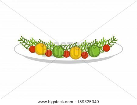 Plate With Vegetables For Roasted Turkey. Dish With Garnish For Meat. Food Template