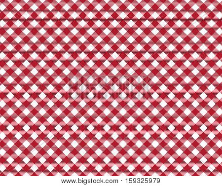 Diagonal traditional tablecloth background white and red