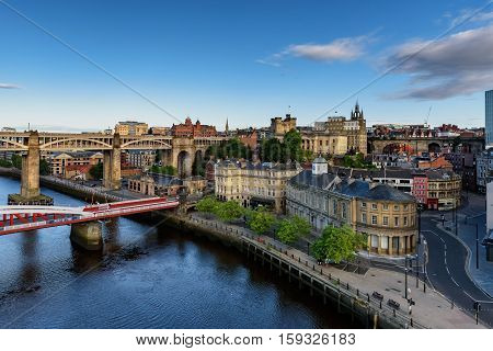 The Newcastle and Gateshead Quaysides are now a thriving cosmopolitan area with bars restaurants and public spaces. England.