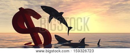 Conceptual 3D illustration bloody dollar symbol or sign sinking in water or sea, with black sharks eating , metaphor or concept for crisis in US banner