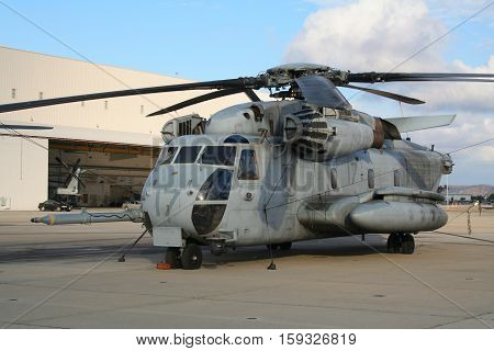 MIRAMAR CALIFORNIA USA - OCT 15 2016: US Marines CH-53E Super Stallion military helicopter on it's homebase at Miramar Air Station.
