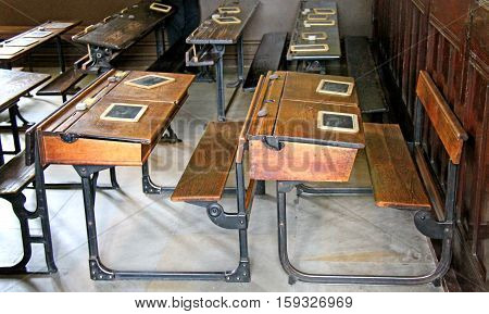 A Representation of an Old Fashioned School Classroom.