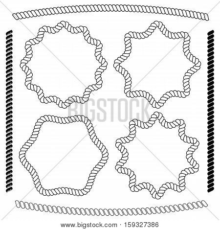 Vector set of frames hexagonal and rounded simulating marine rope isolated on white background. Vector brushes imitating braided rope included in the file