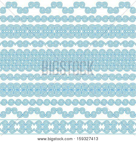 Set of brushes to create the Greek Meander patterns.Greek traditional borders. Decoration spiral elements in blue color isolated on white background. Could be used as divider frame etc.Vector illustration