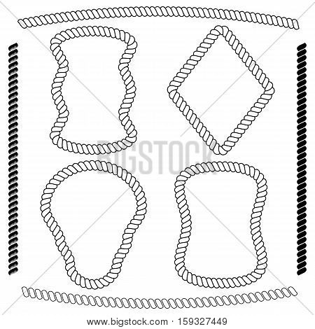 Vector set of frames rectangular shape simulating nautical rope isolated on white background. Vector brushes imitating braided rope included in the file