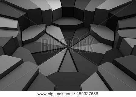 Circular Background. Randomly Choped Geometry. Fractured Extrudable Surface.