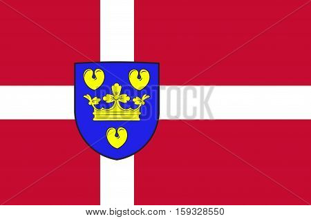 Flag of Copenhagen is a municipality in Region Hovedstaden of Denmark. Vector illustration