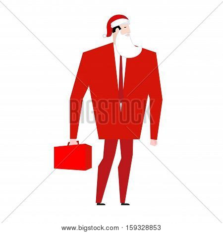 Boss Santa Claus False Beard And Red Cap. Businessman In Festive Mask. Man In Business Suit With Sui