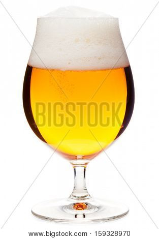 Full snifter glass of pale lager of pilsner beer with a large head of foam isolated on white background