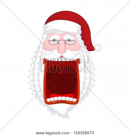 Angry Santa Claus Shouts. Scary Grandfather Yelling. Crazy Santa Shout. Open Mouth And Teeth. Red Li