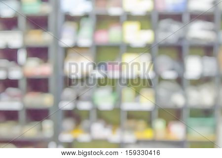 Blurred background or Abstract of drugstore or generic supermarket Store walking with shelf shopping defocused floor.