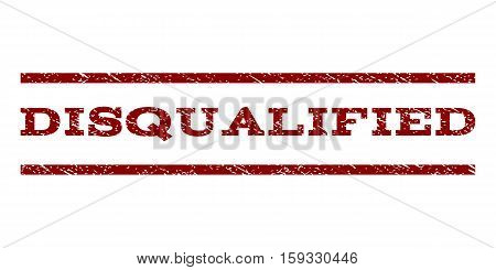 Disqualified watermark stamp. Text caption between horizontal parallel lines with grunge design style. Rubber seal dark red stamp with dust texture. Vector ink imprint on a white background.
