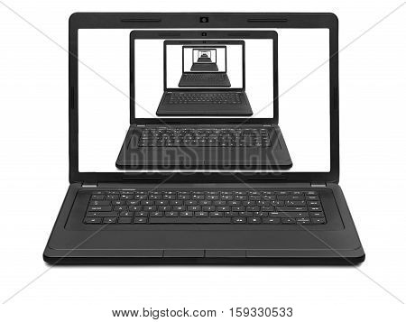 prospect of the laptops on a notebook screen isolated on white background