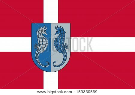 Flag of Fano in Southern Denmark Region. Vector illustration