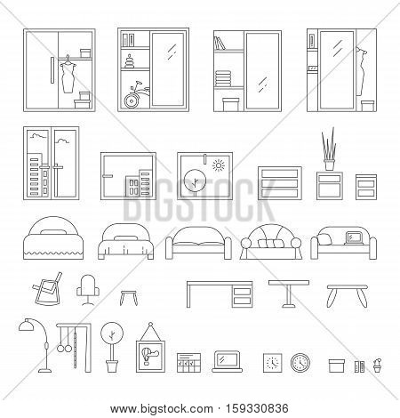 Big set of icons line the interior. Outline vector graphic concept of living room interior desig