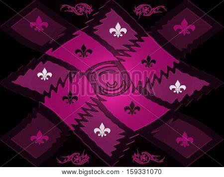 Purplish red texture style lattice chessboard with beautiful inlays of signs and patterns