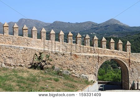 The battlements of Arta Fortress. Mallorca, Spain
