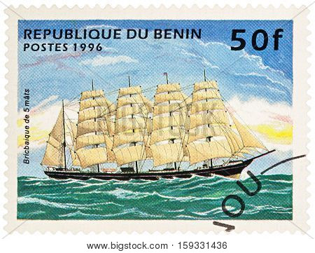 MOSCOW RUSSIA - NOVEMBER 30 2016: A stamp printed in Benin shows 5-masted sailing ship (barque) series