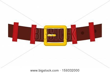 Belt Santa Claus Isolated. Strap With Gold Buckle For Christmas Grandfather. Accessory New Year Clot
