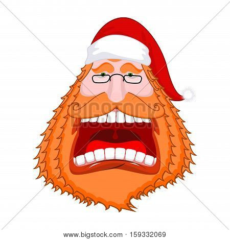 Santa Claus Portrat With Big Red Beard And Cap. Crazy Red-haired Christmas Grandfather Yelling. Xmas