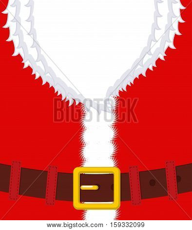 Santa Claus Belly. Beard And Belt. Red Christmas Clothes. Xmas Template Design. New Year Illustratio