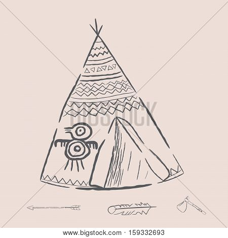 Hand drawn illustrations wigwam with decorative elements and a set of arrows feather and tomahawk. Authentic tepee for design card. North American Indian wigwam