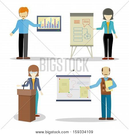 Collection of lectures character vectors. Flat design. Woman and man personages holding business seminar. Certification training in office. Illustration for educational companies, career courses ad.