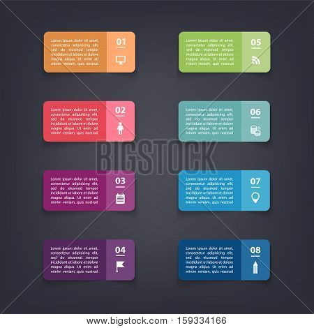 Vector paper flag stickers and labels with realistic shadows for infographic set. Template for diagram, graph, presentation and chart. Colorful on dark background