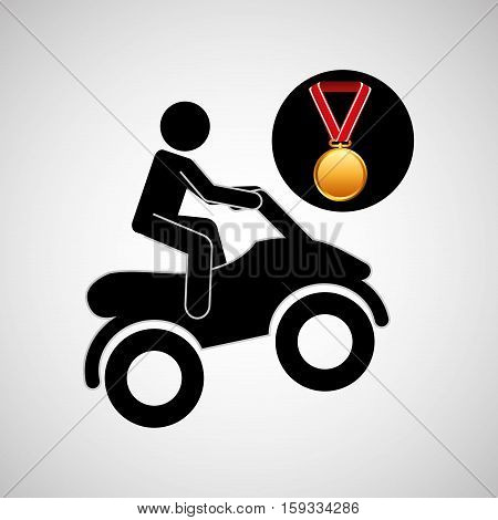 quad bike medal sport extreme graphic vector illustration eps 10