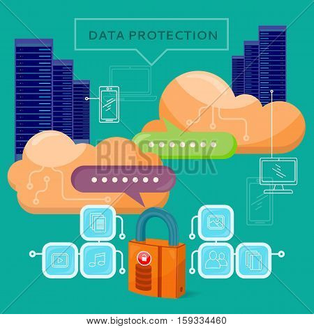 Data protection web banner in flat style. Internet security. Servers, cloud services, media and social networks icons. Illustration for video presentation or corporate ad animation clip