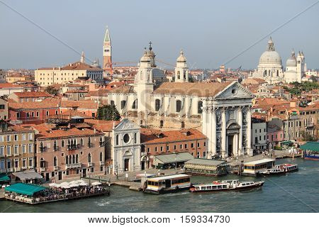 Panoramic view of Giudecca channel in Venice, Italy