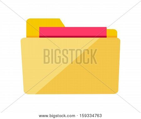 Folder icon isolated on white. Yellow web folder sign with documents. Interface of button for data storage. Multimedia archive. Information saver. Folder for web documents. Vector in flat style design