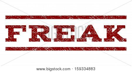Freak watermark stamp. Text tag between horizontal parallel lines with grunge design style. Rubber seal dark red stamp with unclean texture. Vector ink imprint on a white background.