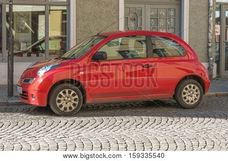 Red Nissan Micra Car