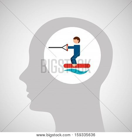 head silhouette kiteboarding extreme sport vector illustration eps 10
