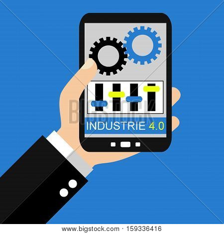 Hand holding Smartphone: Industry 4.0 in german language - Flat Design