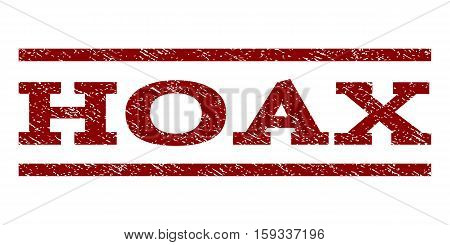 Hoax watermark stamp. Text caption between horizontal parallel lines with grunge design style. Rubber seal dark red stamp with dust texture. Vector ink imprint on a white background.