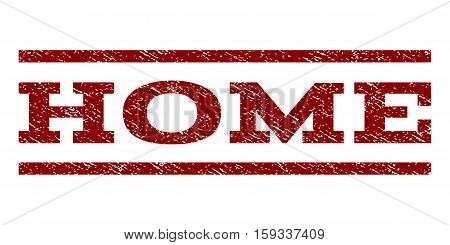 Home watermark stamp. Text tag between horizontal parallel lines with grunge design style. Rubber seal dark red stamp with dirty texture. Vector ink imprint on a white background.