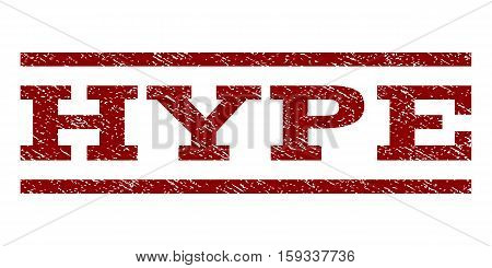 Hype watermark stamp. Text caption between horizontal parallel lines with grunge design style. Rubber seal dark red stamp with dust texture. Vector ink imprint on a white background.