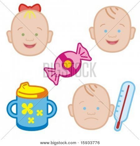 Baby icons series. Check my portfolio for much more of this series as well as thousands of similar and other great vector items.