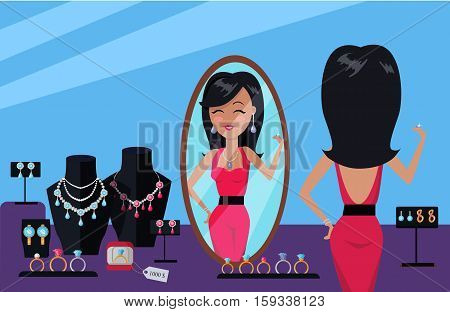 Client of jewelry store vector. Flat Design. Beautiful woman in gorgeous dress looking in mirror and trying on jewelry. Bracelet, necklace, earrings, ring on model. Illustration for jewelry store ad