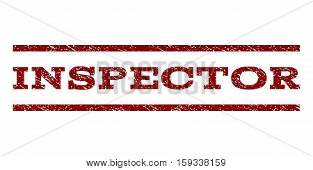 Inspector watermark stamp. Text caption between horizontal parallel lines with grunge design style. Rubber seal dark red stamp with dust texture. Vector ink imprint on a white background.