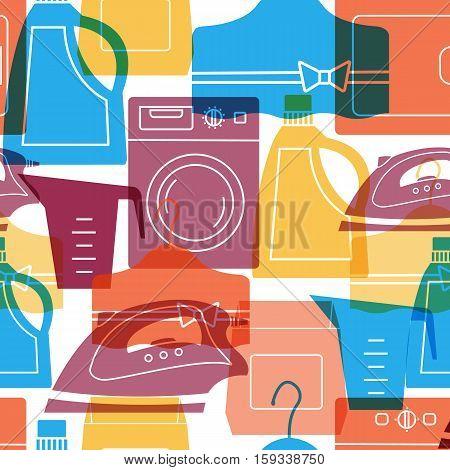 Seamless laundry pattern. Set of laundry symbols: washing machine, laundry drying , washing powder, iron