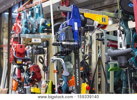 ISTANBUL, TURKEY - 6 APR, 2016: A street market of spare parts and tools parts.Istanbul - 2016