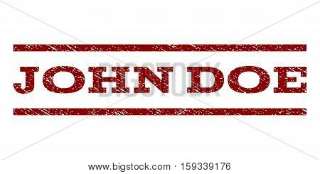 John Doe watermark stamp. Text caption between horizontal parallel lines with grunge design style. Rubber seal dark red stamp with scratched texture. Vector ink imprint on a white background.