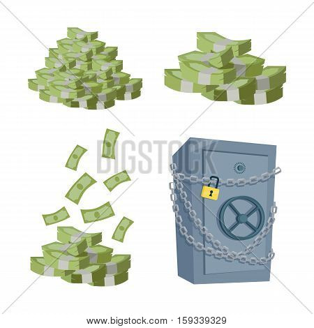 Accumulation and saving money vector concept. Set on money piles. Banknotes stack and safe in flat style design. Illustration for credit, savings, charitable concepts. Isolated on white background.