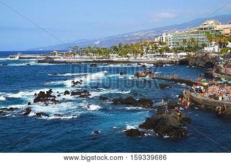 Coastal view of Puerto de la Cruz,Tenerife,Canary Islands,Spain.Selective focus.