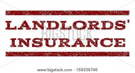 Landlords' Insurance watermark stamp. Text caption between horizontal parallel lines with grunge design style. Rubber seal dark red stamp with unclean texture.