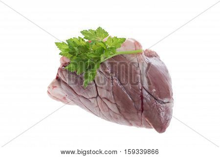 Raw Lamb heart over a white background